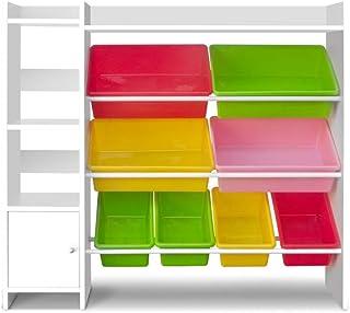 Keezi 8 Bins Kids Toy Box Storage Organiser Display Bookshelf Drawer Cabinet Particle Board (15mm) Thoughtful 45°inclinati...