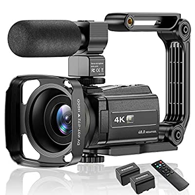 Video Camera Camcorder 4K Ultra HD YouTube Vlogging Camera 48MP IR Night Vision Digital Camera Recorder 16X Digital Zoom 3 inch IPS Touch Screen Video Camcorder with Microphone Handheld Stabilizer from Pofeite-Camcorder