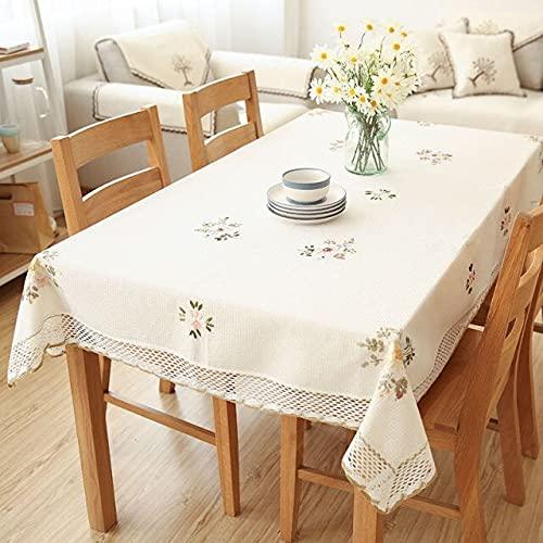 Europa Flores Mantel Blanco Hueco Encaje Algodón Lino Mantel a Prueba de Polvo Boda Banquete TV Cubierta de gabinete Tela 140x200cm Blanco