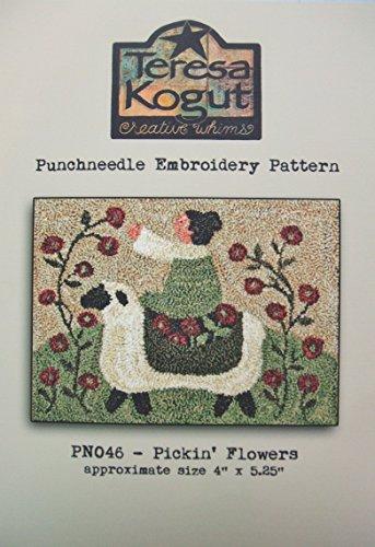 Pickin' Flowers Sheep Punchneedle Punch Needle Embroidery Teresa Kogut Pattern PN046