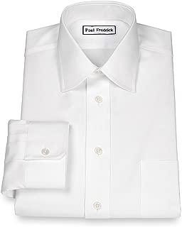 Paul Fredrick Men's Pinpoint Varsity Spread Button Cuff Dress Shirt