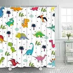 4. BLEUM CADE Kids Cute Dinosaur Shower Curtain