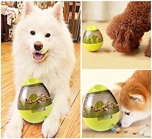 Ewolee Hundespielzeug Ball, Tumbler Spielzeug Haustierfutter Spielzeug Ball ungiftig Bite resistent Spielzeug Ball Intelligentere Interaktive IQ-Behandlung-Kugel Langlebiger Hundespielball - 6