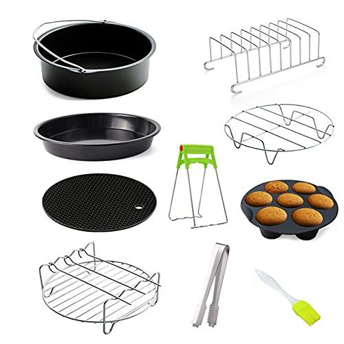 10 unids/set freidora de aire bandeja de pizza 6/7/8 pulgadas parrilla tostada rack vapor almohadilla aislamiento hogar cocina herramientas para hornear (6 pulgadas)