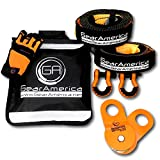GearAmerica Off-Road Recovery Kit | Tow Strap + Tree Saver + Heavy Duty Snatch Block Pulle...