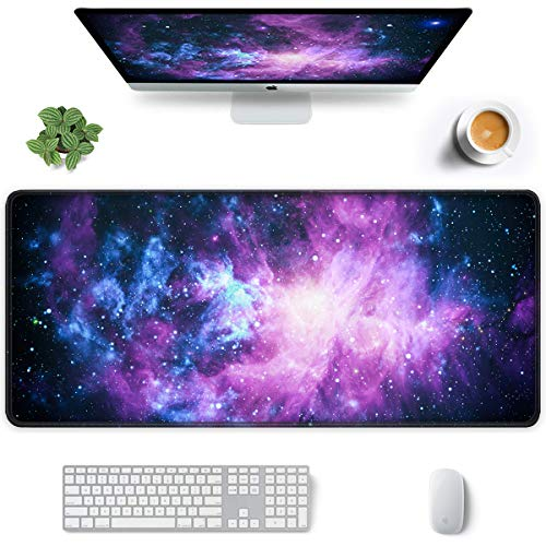 Auhoahsil Large Mouse Pad, Full Desk XXL Extended Gaming Mouse Pad 35' X 15', Waterproof Desktop Mat with Stitched Edges, Non-Slip Laptop Computer Keyboard Mousepad for Office and Home, Galaxy Design