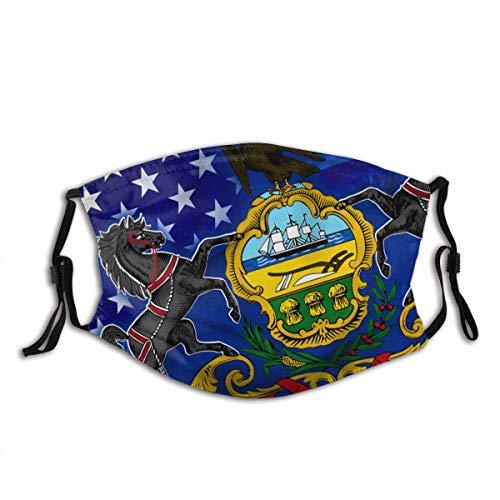 Mouth Scarf,Winken-Usa-Pennsylvania-Staatsflagge Elastische Personalisierte Mundhülsen Zum Schutz Vor Staubrauch,20x15cm