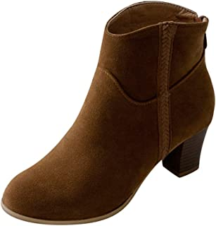 Classic Chelsea Ankle Boots for Women,Comfort Low Stacked Heel Faux Suede Bootie Casual Pointed Toe Boot