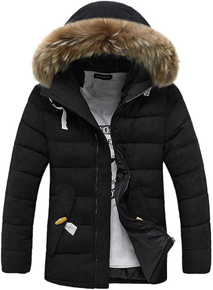 Men's Winter Thicken Puffer Jacket Water-Resistant Coat with Hood Long Sleeve Padded Outwear Top Blouse