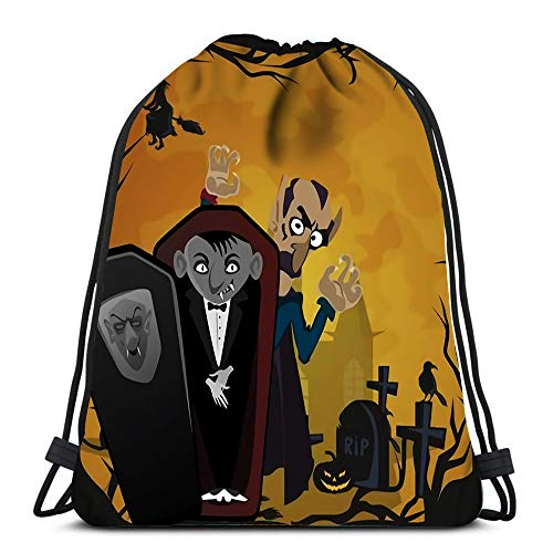 Drawstring Backpack Halloween Sat with Vampire and Their Castle Under The Full Moon Cemetery Dracula Durable for Carrying Around
