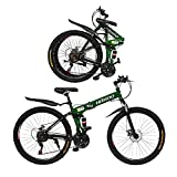 26 inch Mountain Bike Folding Bikes Cruiser Bicycles Non-Slip Bike with 21 Speed,Dual Disc Brakes Full Suspension for Adults Men & Women (Green-with Shock Absorber)