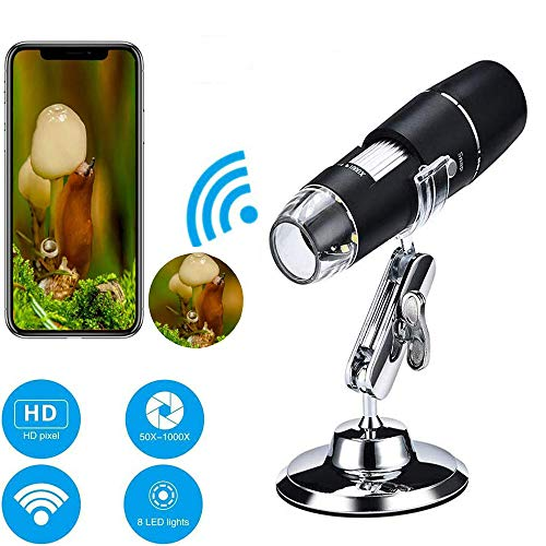 Wireless Digital WiFi USB Microscope 50X - 1000X Magnification Mini Handheld Endoscope Inspection Camera with 8 LEDs with Metal Stand, Compatible with iPhone, Android Smartphone