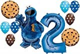 12pc BALLOON set NEW COOKIE MONSTER sesame street PARTY 2nd BIRTHDAY second GIFT...
