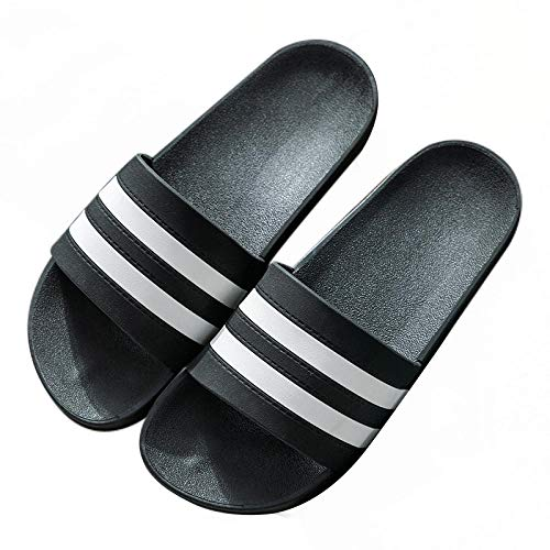 HUSHUI Hombres Baño deUso en el Interior Sandalia,Zapatillas de baño cómodas de Fondo Grueso, Sandalias de Pareja de Playa al Aire Libre-Negro 2_41,Piscina Sandalias de Baño