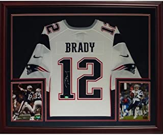Tom Brady Autographed New England Patriots (White #12) Deluxe Framed Nike Jersey - TriStar