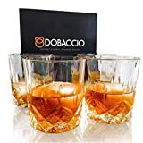 Whiskey Glasses, Scotch Bourbon Drinking Cups, Old Fashioned Crystal Clear Gift Set of 4