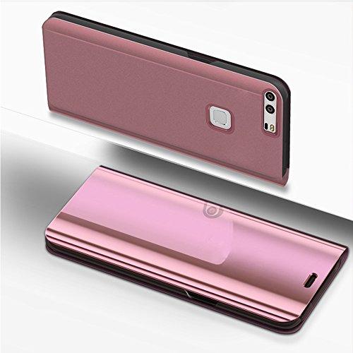 kompatibel mit Huawei P9 Plus Hülle Spiegel,Überzug Spiegel Clear View PU Leder Tasche Flip Schutzhülle Brieftasche Handyhülle Handytasche Flip Cover Wallet Tasche Cover für Huawei P9 Plus,Rose Gold