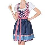 VEMOW Damen Kostüme Elegant Damen 3 Stück Dirndl Kleid Bluse Costumes rachtenkleid mit Stickerei Traditionelle Bayerische Oktoberfest Karneval(X2-Rot, EU-38/CN-L)