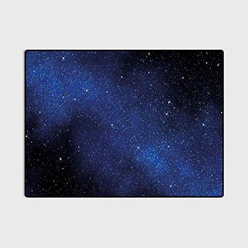 Night Sky Patio Rugs Kitchen Rugs Non Skid Nebula Galaxy Stars Milky Way in Ombre Colors Outer Space Universe Image Indoor Outdoor Carpeting Dark Blue and White 4 x 5.3 Ft
