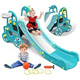 Pickwoo Toddler Slide Kids Slide with Basketball and...