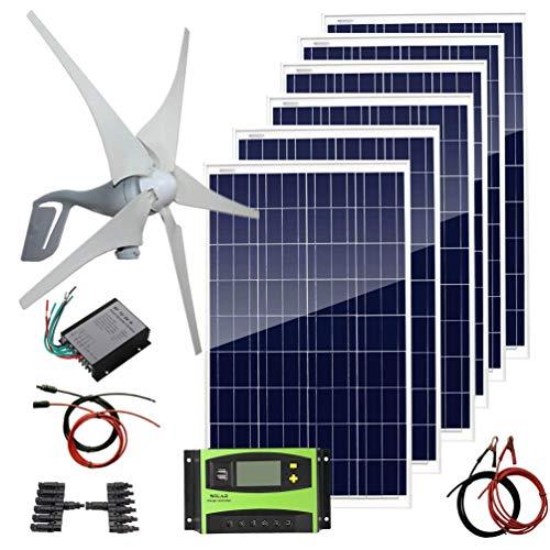 AUECOOR 1000 Watts Solar Panel Wind Turbine Hybrid Kit: 6 pcs 100W Solar Panel +400W Wind Turbine Generator for Home House 12V 24V Battery