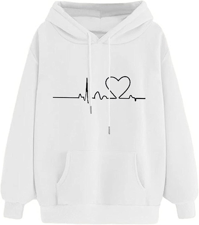 HIRIRI Pullover Hoodies for Women Printing Lightweight Kansas City Mall Ultra-Cheap Deals Heartbeat