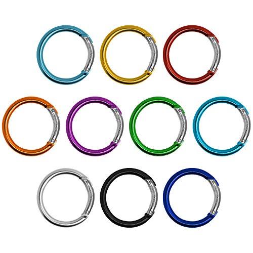BB Sport 10er Set Materialkarabiner Karabiner Schlüsselanhänger Karabinerhaken Zubehörkarabiner, Farbe:Ring