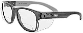 MAGID Y50BKAFC20 Iconic Y50 Design Series Safety Glasses with Side Shields   ANSI Z87+ Performance, Scratch & Fog Resistant, Comfortable & Stylish, Cloth Case Included, +2.0 BiFocal Lens (1 Pair)