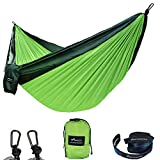 GEEZO Double Camping Hammock, Lightweight Portable Parachute (2 Tree Straps 16 LOOPS/10 FT Included) 500lbs Capacity Hammock for Backpacking, Camping, Travel, Beach, Garden (Dark Green/Fruit Green)