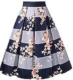 Alinfu Womens Jacquard High Waist A Line Skirt Floral Pleated Midi Skirts (X-Large, Blue Jacquard Floral)
