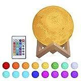 Lámpara Luna 3D,Tomshine 15cm Lámpara Mesilla de Noche,16 Colores y 4 Modos de Iluminación,Brillo Re...