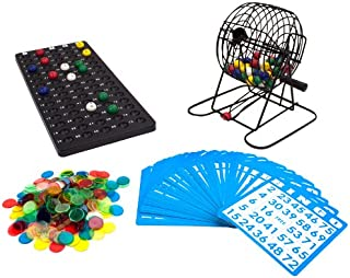 Deluxe Bingo Set - 6-Inch Metal Cage with Calling Board, 75 Colored Balls, 300 Bingo Chips, & 50 Bingo Cards for Large Group Games by Royal Bingo Supplies