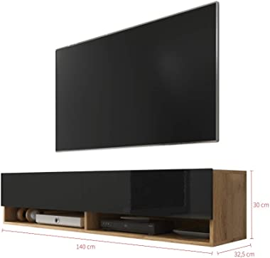 Selsey Meuble TV, Chêne Wotan/Noir Brillant, sans LED