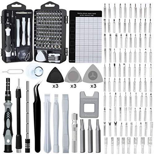 Juego de destornilladores de precisión DealMux, 122 piezas, accesorios para teléfono, kit de herramientas de reparación de bricolaje, ordenador, ordenador portátil, relojes, gafas y electrónica