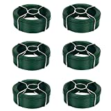 Amagabeli 6 x 50M Rollo de Alambre Recubierto Ø 1.35 mm Alambre de Jardín Esgrima Alambre Inoxidable de PVC Verde WR8