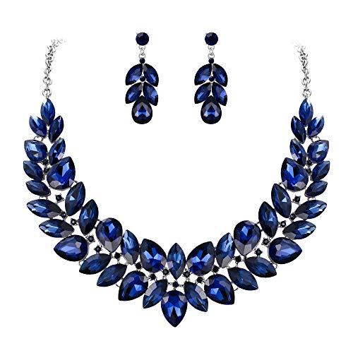 EVER FAITH Women's Crystal Wedding Bridal 2 Layers Flower Leaf Vine Necklace Earrings Set Navy Blue Silver-Tone