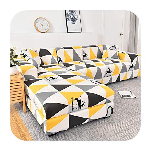 Funda de sofá elástica geométrica para sala de estar, sofá en forma de L, 2 piezas, funda de sofá de 17 a 2 plazas, 145 a 185 cm