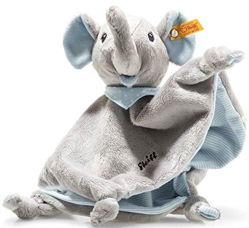 Steiff Trampili Elefant Schmusetuch - 28 cm - Kuscheltier für Babys - Plüschelefant - weich & waschbar - grau/blau - (241697)