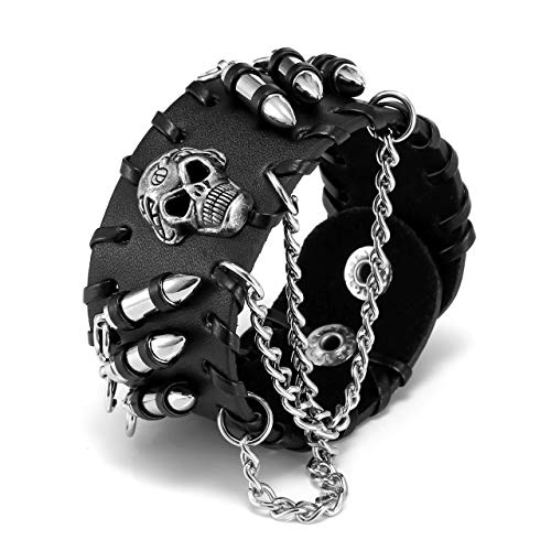 Jovivi Punk Pu Leather Skull Design Bracelet Wristband Adjustable Size 7 to 8 Inches Include a Gift Pouch