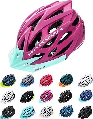 meteor® Marven Fahrradhelm Herren Damen Kinder-Helm MTB rollerhelm Kinder-fahrradhelm für Downhill rennradhelm Mountainbike skaterhelm BMX fahradhelm Scooter (L (58-61cm), Aubergine)