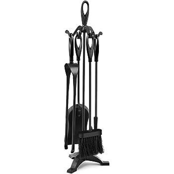 Amagabeli Utensilios de Chimenea Juego 5 accesorios Chimenea Conjunto de Herramientas de Chimenea de Hierro Forjado Negro Pinzas de fuego Juego de herramientas para chimenea