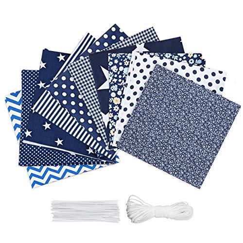 king do way 10PCS Panno di Cotone DIY di Protezione per Viso, Miscelazione del Colore, 50 Nose Wire e Elastico 10M, 60 x 50 cm di Cotone Blu Scuro