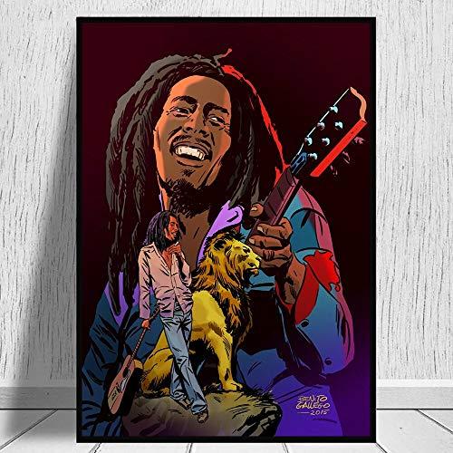wZUN Póster de Dibujos Animados de música Reggae legendaria y Mural de Grabado 50X75CM