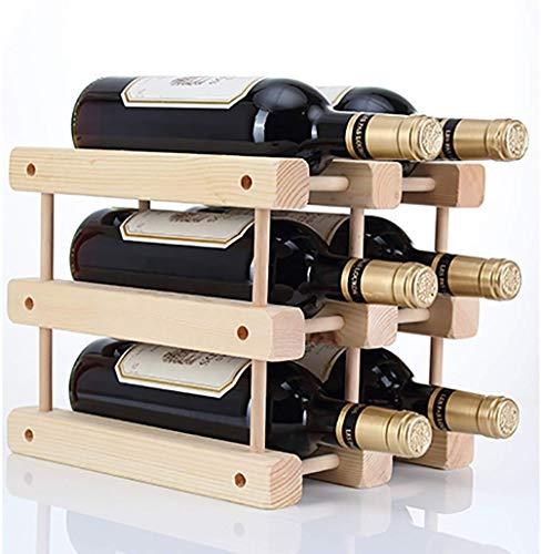 BXU-BG Botellero de madera compatible con el hogar, estantes de vino, barra de cocina, accesorios creativos compatibles con enfriador de vino, paquete de seis 23 x 26 x 28 cm