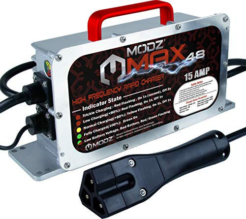 MODZ Max48 15 AMP EZGO RXV & TXT 48 Battery Charger for 48 Volt Golf Carts