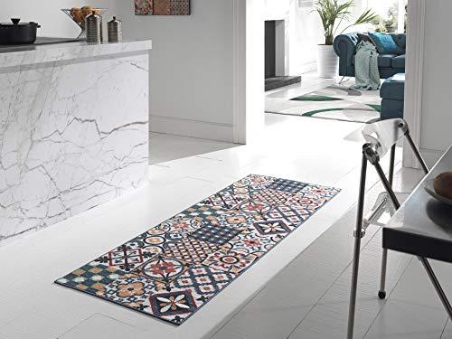 NAZAR Tapis DE Salon, Couloir ET Cuisine Imitation Carreaux DE Ciment - DIFFERENTES Couleurs ET Tailles (Multi, 50x100cm)