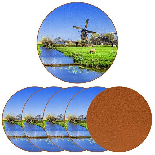 BENNIGIRY Molino de Viento holandés con corderos Posavasos de Cuero Tapetes Redondos Resistentes al Calor para Tazas Taza de café Tapetes Individuales para Tazas de Vidrio, 6 Piezas