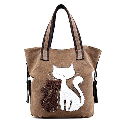 Hiigoo Lovely Canvas Cat Tote Bag Casual Handbag Shopping Bag Shoulder Bags Large Totes (Brown)