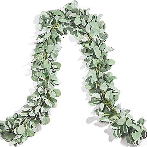 Miracliy 2 Pack Eucalyptus Garland, Lambs Ear Greeney Garland Faux Leaves Vine for Wedding Centerpiece Mantle Table Party Home Farmhouse Devor (6.5ft/pcs)