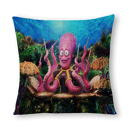 perfecone Home Improvement Cotton Pillowcase Double Undersea Octopus Drummer or Catcher Natural Eco Sofa and car Pillow case 1 Pack 15.7 x 15.7 inches/40 cm x 40 cm